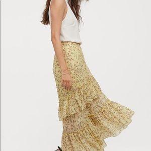 H&M yellow tiered skirt